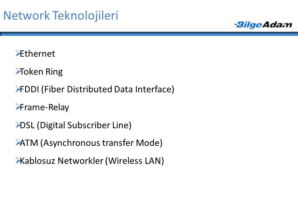 Network Teknolojileri  Ethernet  Token Ring  FDDI (Fiber Distributed Data Interface)  Frame-Relay  DSL (Digital Subscriber Line)  ATM (Asynchron