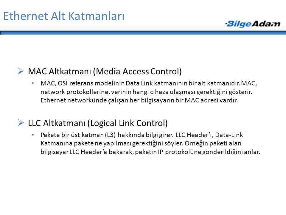 Ethernet Alt Katmanları  MAC Altkatmanı (Media Access Control) • MAC, OSI referans modelinin Data Link katmanının bir alt katmanıdır. MAC, network pr