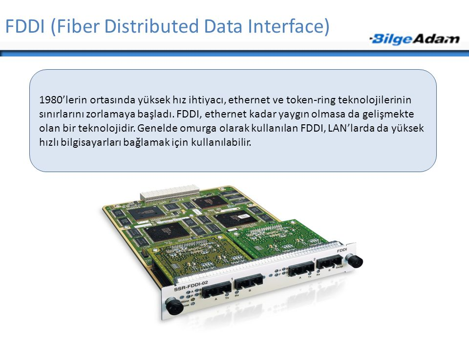 FDDI (Fiber Distributed Data Interface) 1980'lerin ortasında yüksek hız ihtiyacı, ethernet ve token-ring teknolojilerinin sınırlarını zorlamaya başlad