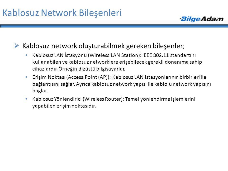 Kablosuz Network Bileşenleri  Kablosuz network oluşturabilmek gereken bileşenler; • Kablosuz LAN İstasyonu (Wireless LAN Station): IEEE 802.11 standa