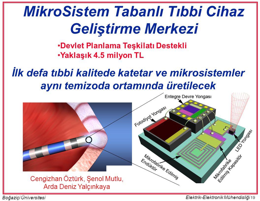 19 Boğaziçi Üniversitesi Elektrik-Elektronik Mühendisliği •Devlet Planlama Teşkilatı Destekli •Yaklaşık 4.5 milyon TL MikroSistem Tabanlı Tıbbi Cihaz