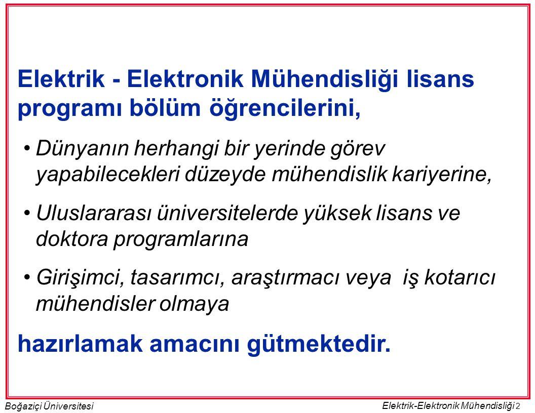 2 Boğaziçi Üniversitesi Elektrik-Elektronik Mühendisliği Elektrik - Elektronik Mühendisliği lisans programı bölüm öğrencilerini, •Dünyanın herhangi bi
