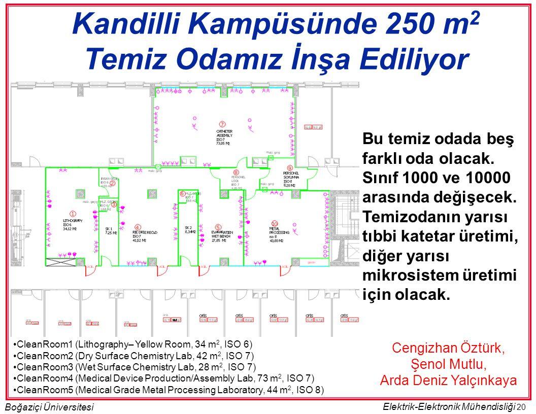 20 Boğaziçi Üniversitesi Elektrik-Elektronik Mühendisliği •CleanRoom1 (Lithography– Yellow Room, 34 m 2, ISO 6) •CleanRoom2 (Dry Surface Chemistry Lab