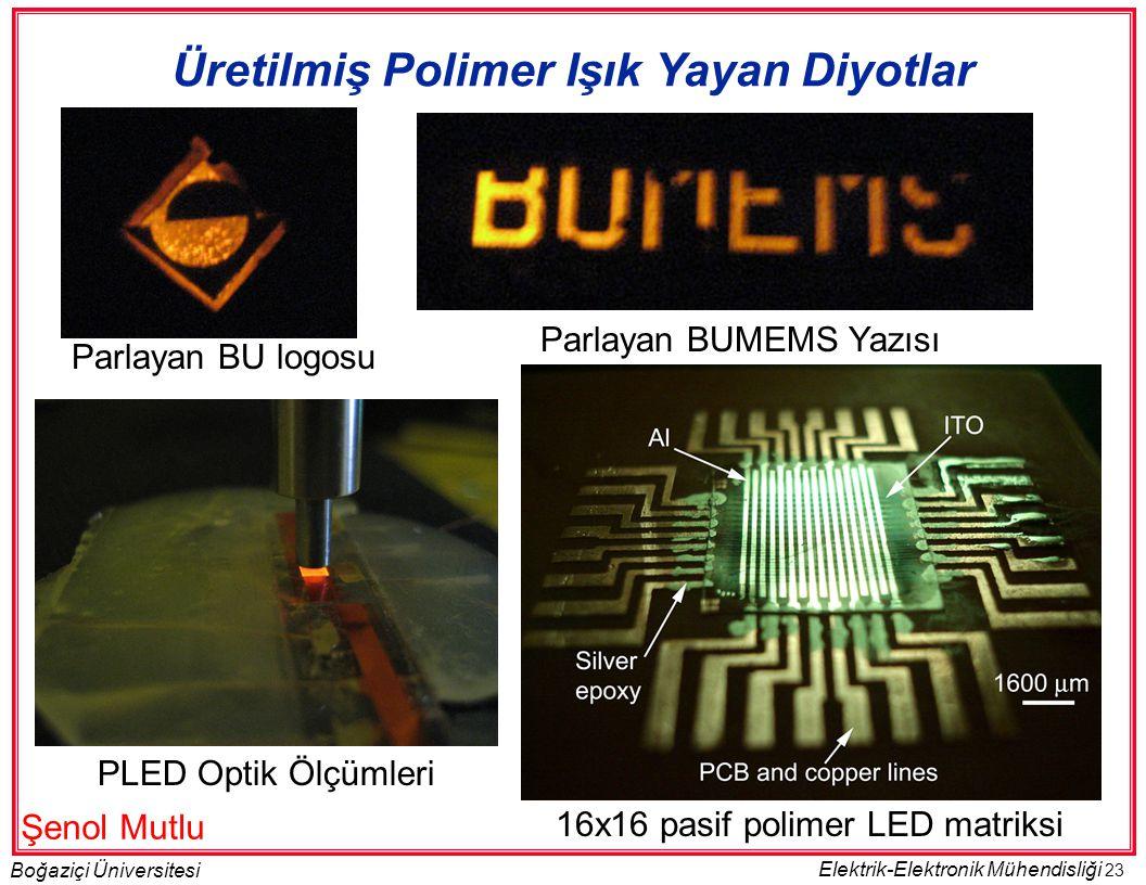 23 Boğaziçi Üniversitesi Elektrik-Elektronik Mühendisliği Üretilmiş Polimer Işık Yayan Diyotlar Parlayan BU logosu Parlayan BUMEMS Yazısı PLED Optik Ölçümleri 16x16 pasif polimer LED matriksi Şenol Mutlu