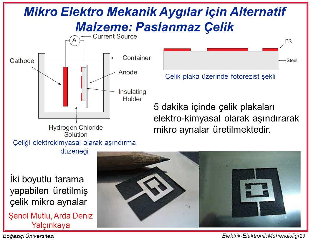28 Boğaziçi Üniversitesi Elektrik-Elektronik Mühendisliği Çelik plaka üzerinde fotorezist şekli Çeliği elektrokimyasal olarak aşındırma düzeneği 5 dakika içinde çelik plakaları elektro-kimyasal olarak aşındırarak mikro aynalar üretilmektedir.