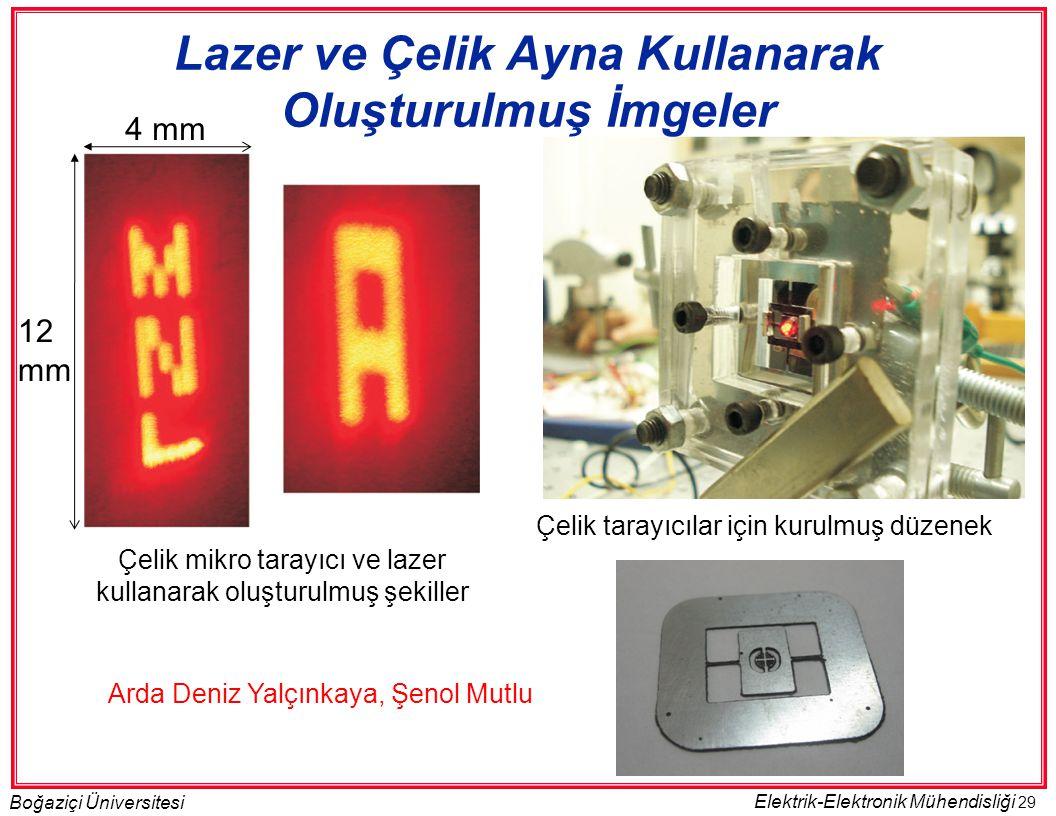 29 Boğaziçi Üniversitesi Elektrik-Elektronik Mühendisliği Çelik tarayıcılar için kurulmuş düzenek Çelik mikro tarayıcı ve lazer kullanarak oluşturulmu