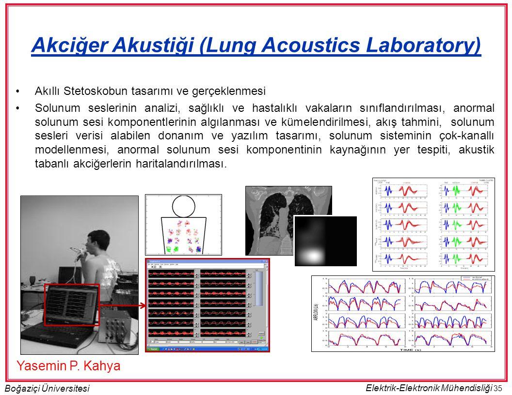 35 Boğaziçi Üniversitesi Elektrik-Elektronik Mühendisliği •Akıllı Stetoskobun tasarımı ve gerçeklenmesi •Solunum seslerinin analizi, sağlıklı ve hastalıklı vakaların sınıflandırılması, anormal solunum sesi komponentlerinin algılanması ve kümelendirilmesi, akış tahmini, solunum sesleri verisi alabilen donanım ve yazılım tasarımı, solunum sisteminin çok-kanallı modellenmesi, anormal solunum sesi komponentinin kaynağının yer tespiti, akustik tabanlı akciğerlerin haritalandırılması.