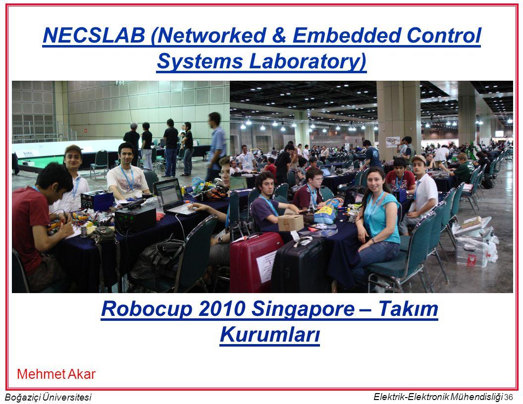 36 Boğaziçi Üniversitesi Elektrik-Elektronik Mühendisliği Robocup 2010 Singapore – Takım Kurumları NECSLAB (Networked & Embedded Control Systems Laboratory) Mehmet Akar