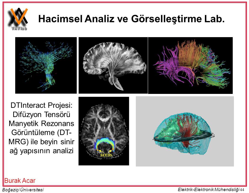 44 Boğaziçi Üniversitesi Elektrik-Elektronik Mühendisliği DTInteract Projesi: Difüzyon Tensörü Manyetik Rezonans Görüntüleme (DT- MRG) ile beyin sinir ağ yapısının analizi Hacimsel Analiz ve Görselleştirme Lab.