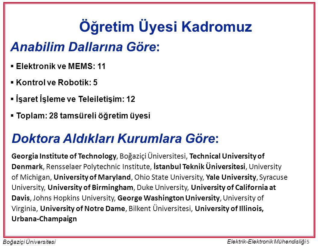5 Boğaziçi Üniversitesi Elektrik-Elektronik Mühendisliği Öğretim Üyesi Kadromuz Anabilim Dallarına Göre:  Elektronik ve MEMS: 11  Kontrol ve Robotik