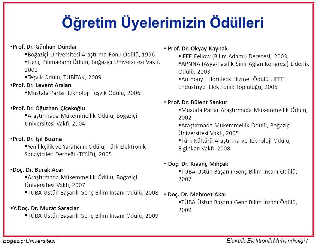7 Boğaziçi Üniversitesi Elektrik-Elektronik Mühendisliği Öğretim Üyelerimizin Ödülleri • Prof. Dr. Günhan Dündar  Boğaziçi Üniversitesi Araştırma Fon