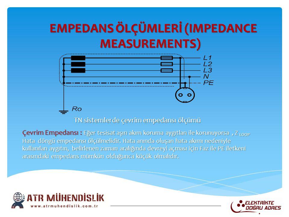EMPEDANS ÖLÇÜMLERİ (IMPEDANCE MEASUREMENTS) EMPEDANS ÖLÇÜMLERİ (IMPEDANCE MEASUREMENTS) TN sistemlerde çevrim empedansı ölçümü Çevrim Empedansı : Eğer