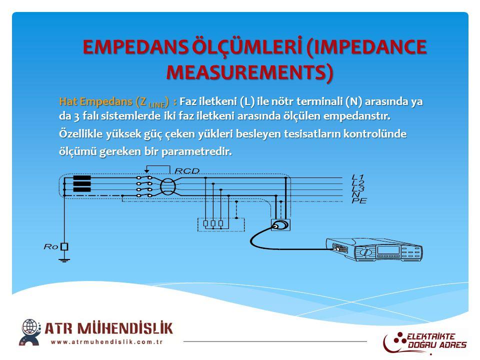 EMPEDANS ÖLÇÜMLERİ (IMPEDANCE MEASUREMENTS) EMPEDANS ÖLÇÜMLERİ (IMPEDANCE MEASUREMENTS) Hat Empedans (Z LINE ) : Faz iletkeni (L) ile nötr terminali (