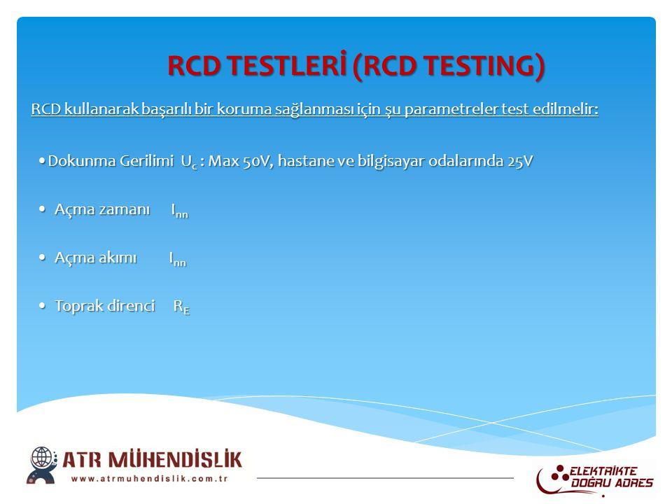 RCD TESTLERİ (RCD TESTING) RCD TESTLERİ (RCD TESTING) RCD kullanarak başarılı bir koruma sağlanması için şu parametreler test edilmelir: •Dokunma Geri