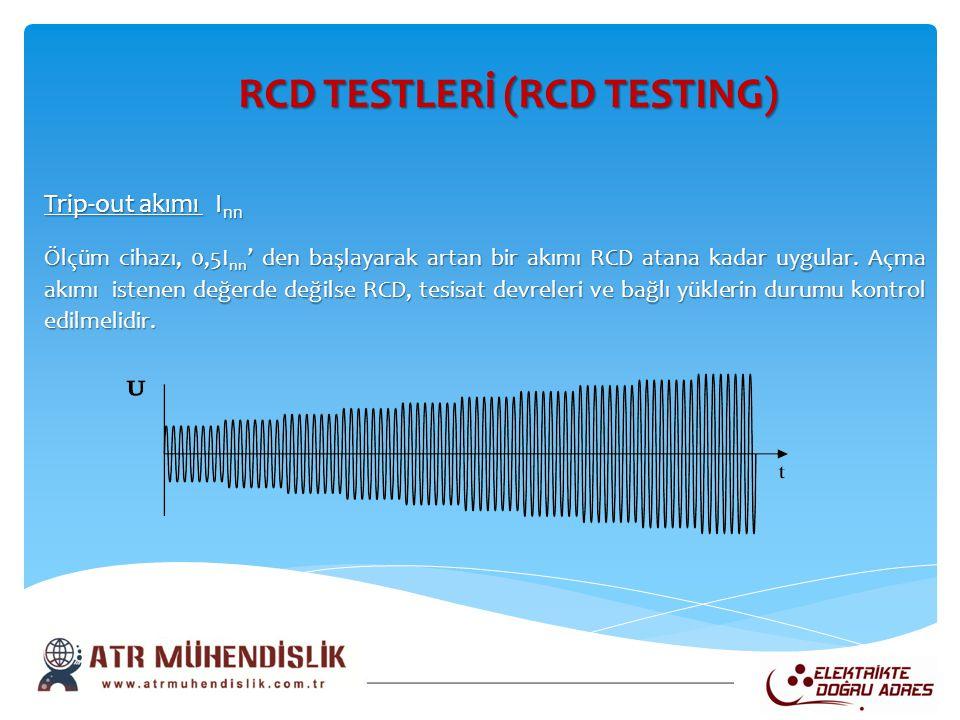 RCD TESTLERİ (RCD TESTING) RCD TESTLERİ (RCD TESTING) Trip-out akımı I nn Ölçüm cihazı, 0,5I nn ' den başlayarak artan bir akımı RCD atana kadar uygul