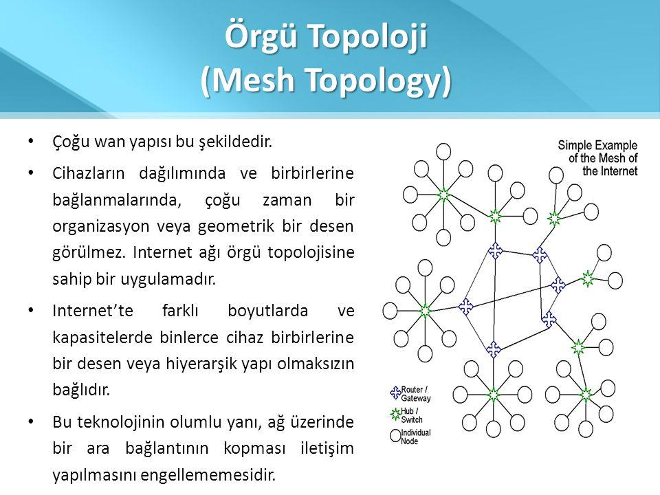 Örgü Topoloji (Mesh Topology) • Çoğu wan yapısı bu şekildedir. • Cihazların dağılımında ve birbirlerine bağlanmalarında, çoğu zaman bir organizasyon v