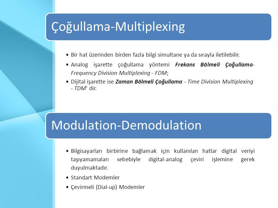 Çoğullama-Multiplexing •Bir hat üzerinden birden fazla bilgi simultane ya da sırayla iletilebilir. •Analog işarette çoğullama yöntemi Frekans Bölmeli