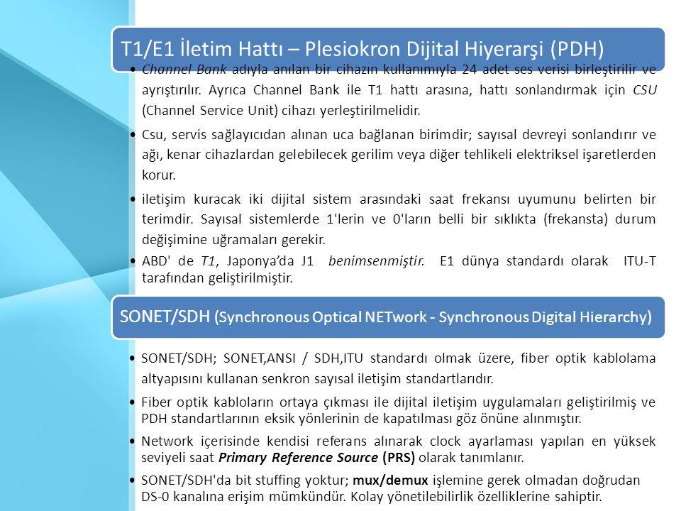 T1/E1 İletim Hattı – Plesiokron Dijital Hiyerarşi (PDH) •Channel Bank adıyla anılan bir cihazın kullanımıyla 24 adet ses verisi birleştirilir ve ayrış