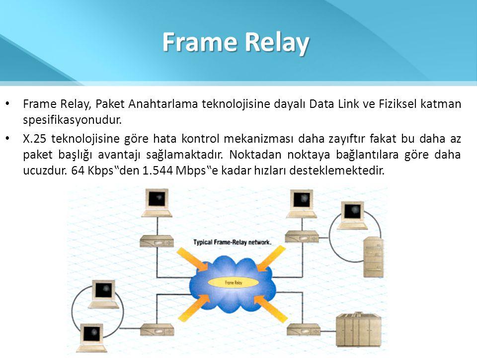 Frame Relay • Frame Relay, Paket Anahtarlama teknolojisine dayalı Data Link ve Fiziksel katman spesifikasyonudur. • X.25 teknolojisine göre hata kontr