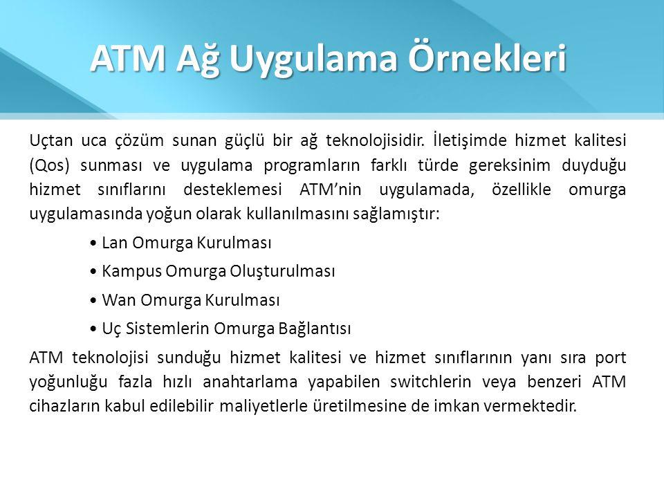 ATM Ağ Uygulama Örnekleri Uçtan uca çözüm sunan güçlü bir ağ teknolojisidir. İletişimde hizmet kalitesi (Qos) sunması ve uygulama programların farklı
