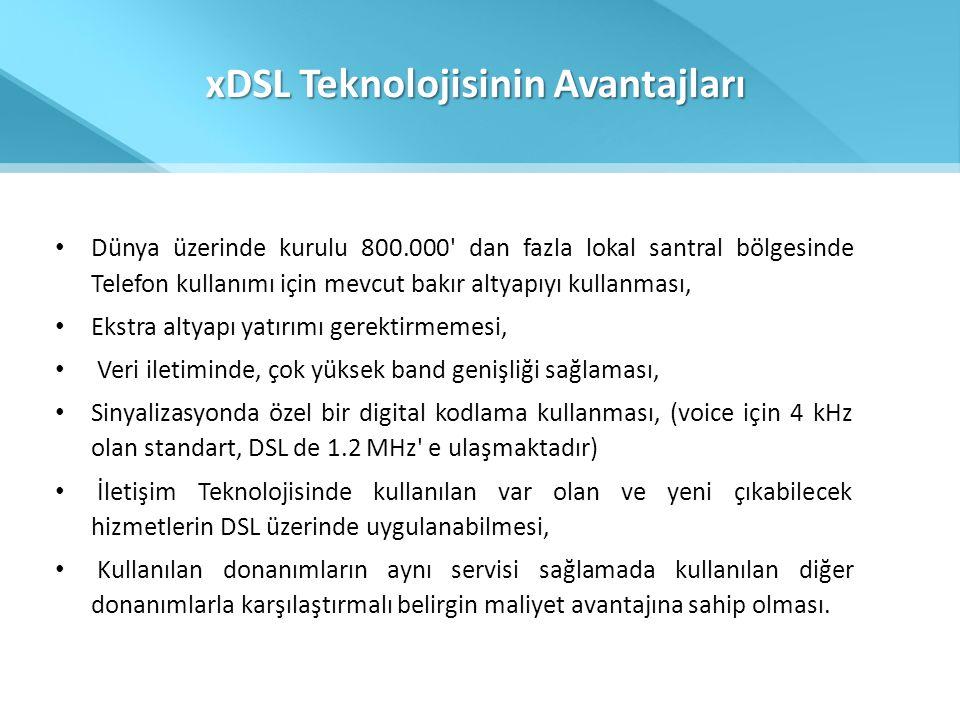 xDSL Teknolojisinin Avantajları • Dünya üzerinde kurulu 800.000' dan fazla lokal santral bölgesinde Telefon kullanımı için mevcut bakır altyapıyı kull