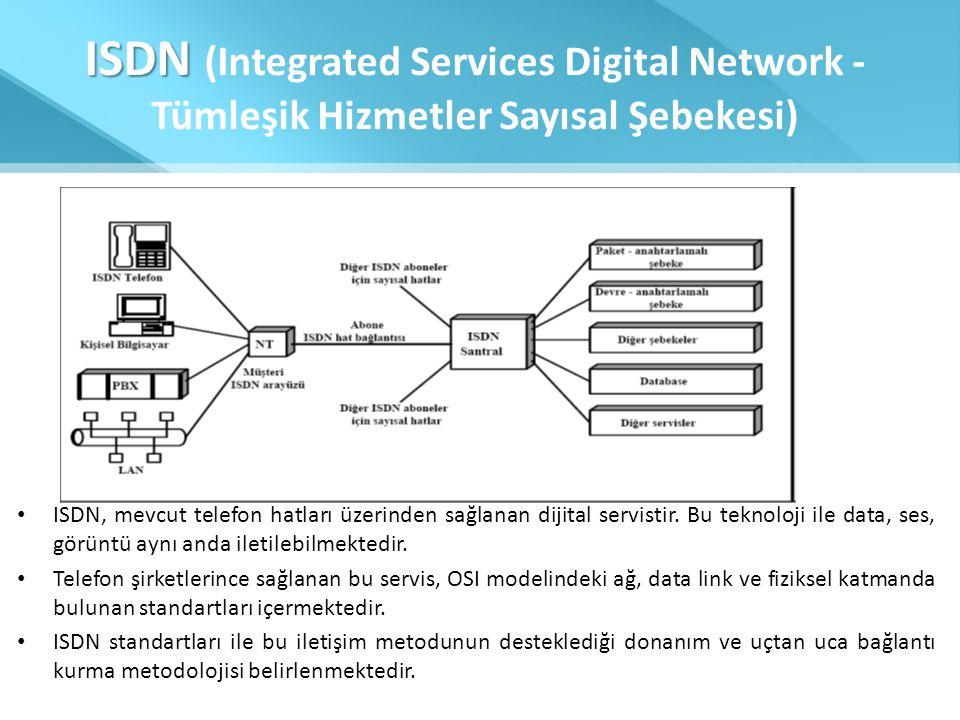 ISDN ISDN (Integrated Services Digital Network - Tümleşik Hizmetler Sayısal Şebekesi) • ISDN, mevcut telefon hatları üzerinden sağlanan dijital servis