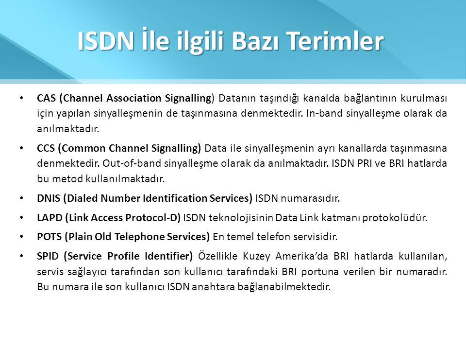 ISDN İle ilgili Bazı Terimler • CAS (Channel Association Signalling) Datanın taşındığı kanalda bağlantının kurulması için yapılan sinyalleşmenin de ta