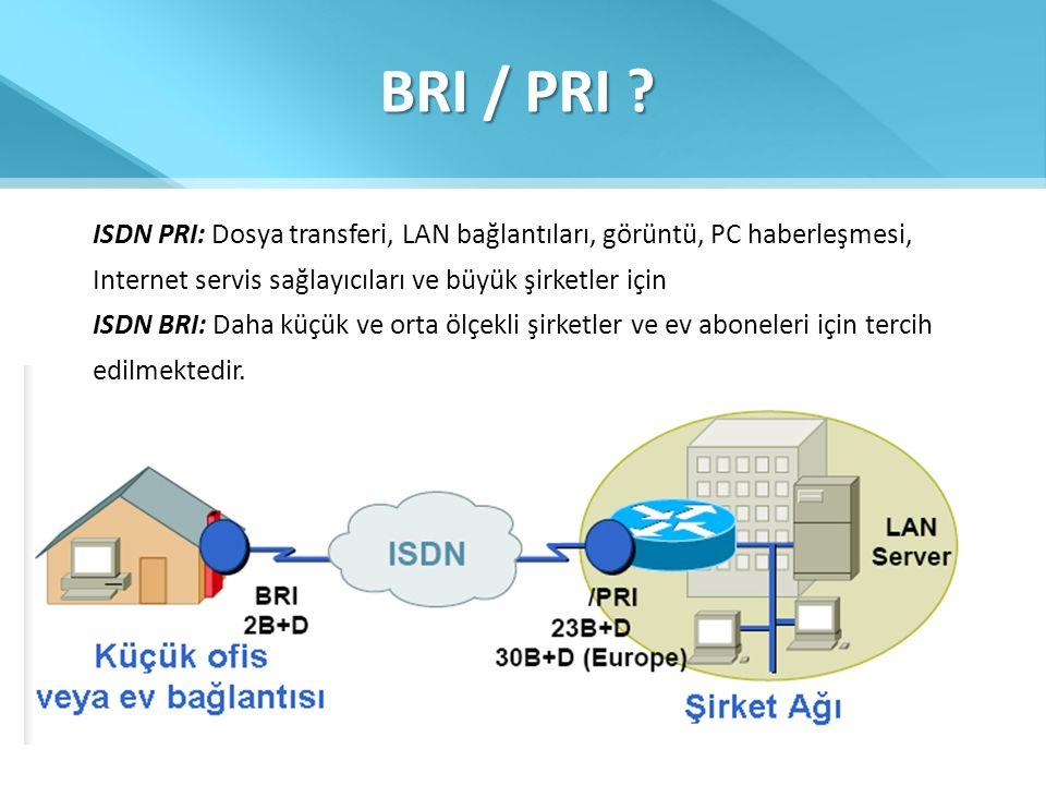 BRI / PRI ? ISDN PRI: Dosya transferi, LAN bağlantıları, görüntü, PC haberleşmesi, Internet servis sağlayıcıları ve büyük şirketler için ISDN BRI: Dah