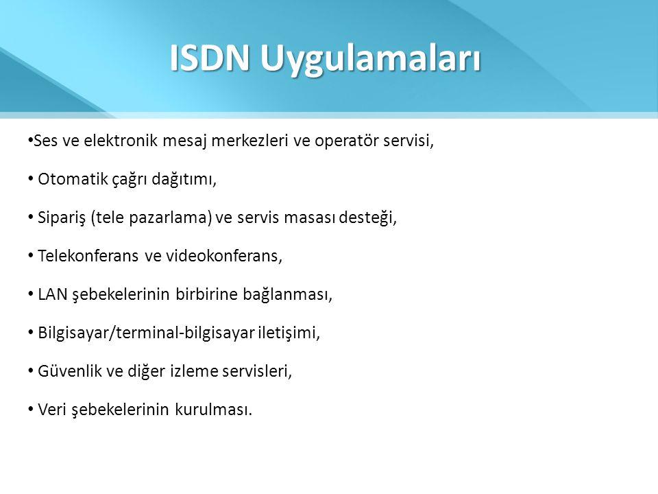 ISDN Uygulamaları • Ses ve elektronik mesaj merkezleri ve operatör servisi, • Otomatik çağrı dağıtımı, • Sipariş (tele pazarlama) ve servis masası des