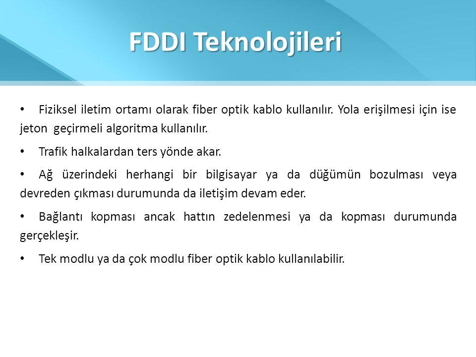 FDDI Teknolojileri • Fiziksel iletim ortamı olarak fiber optik kablo kullanılır. Yola erişilmesi için ise jeton geçirmeli algoritma kullanılır. • Traf