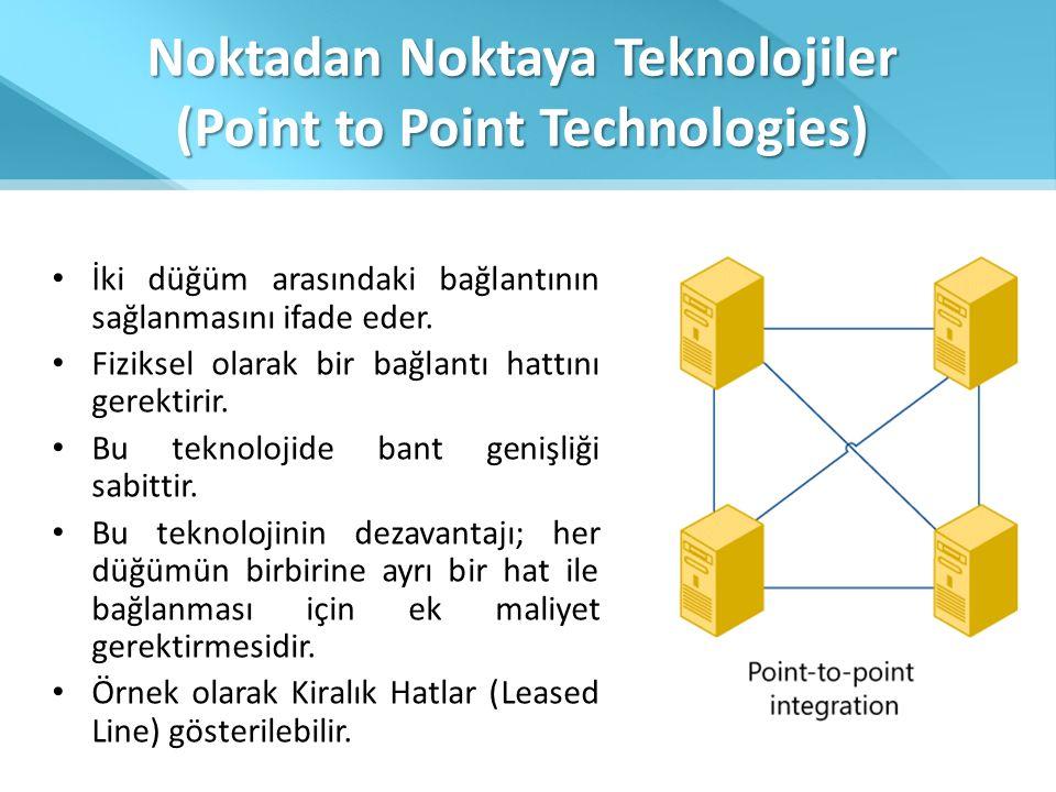 Noktadan Noktaya Teknolojiler (Point to Point Technologies) • İki düğüm arasındaki bağlantının sağlanmasını ifade eder. • Fiziksel olarak bir bağlantı