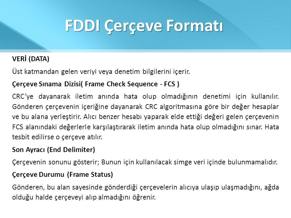 FDDI Çerçeve Formatı VERİ (DATA) Üst katmandan gelen veriyi veya denetim bilgilerini içerir. Çerçeve Sınama Dizisi( Frame Check Sequence - FCS ) CRC'y