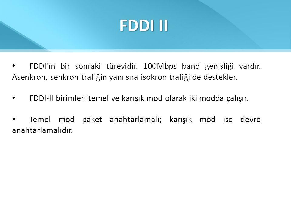 FDDI II • FDDI'ın bir sonraki türevidir. 100Mbps band genişliği vardır. Asenkron, senkron trafiğin yanı sıra isokron trafiği de destekler. • FDDI-II b