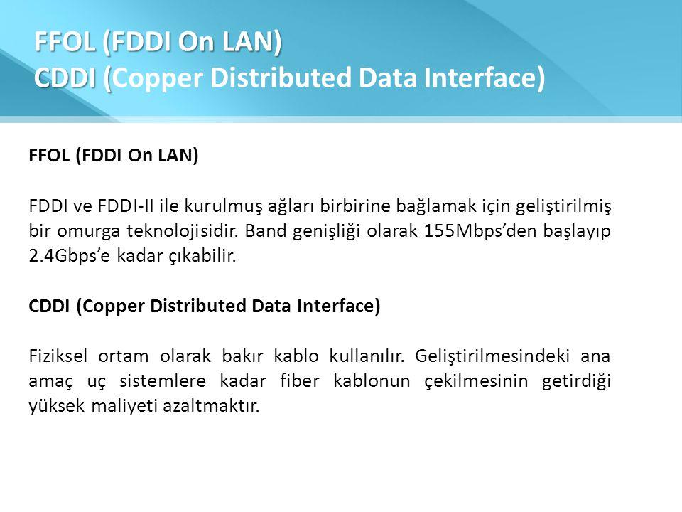 FFOL (FDDI On LAN) CDDI ( FFOL (FDDI On LAN) CDDI (Copper Distributed Data Interface) FFOL (FDDI On LAN) FDDI ve FDDI-II ile kurulmuş ağları birbirine