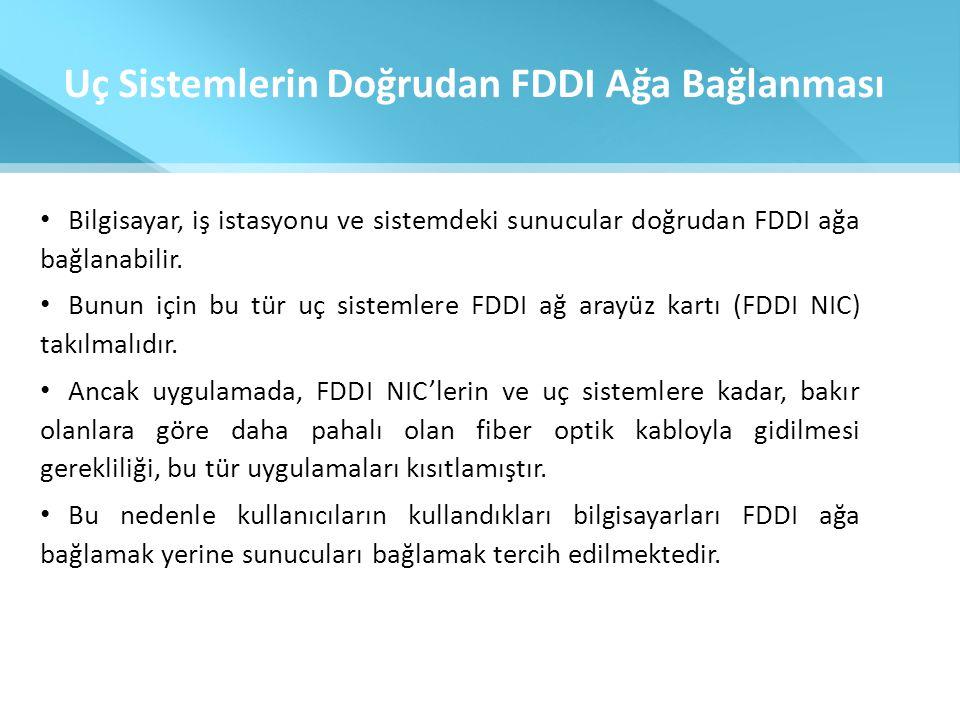 Uç Sistemlerin Doğrudan FDDI Ağa Bağlanması • Bilgisayar, iş istasyonu ve sistemdeki sunucular doğrudan FDDI ağa bağlanabilir. • Bunun için bu tür uç