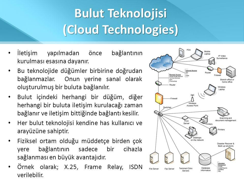 Bulut Teknolojisi (Cloud Technologies) • İletişim yapılmadan önce bağlantının kurulması esasına dayanır. • Bu teknolojide düğümler birbirine doğrudan