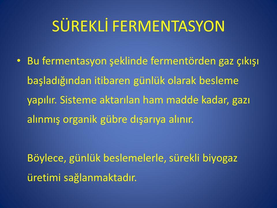 SÜREKLİ FERMENTASYON • Bu fermentasyon şeklinde fermentörden gaz çıkışı başladığından itibaren günlük olarak besleme yapılır. Sisteme aktarılan ham ma