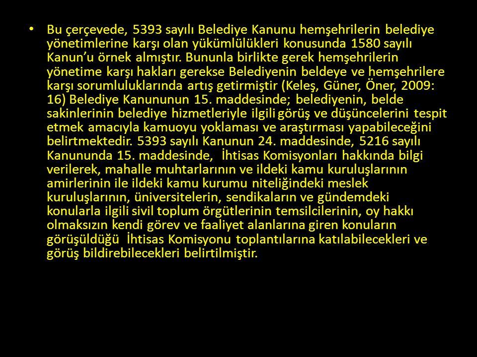 • Bu çerçevede, 5393 sayılı Belediye Kanunu hemşehrilerin belediye yönetimlerine karşı olan yükümlülükleri konusunda 1580 sayılı Kanun'u örnek almıştı