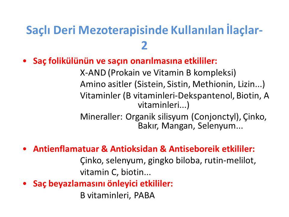 Saçlı Deri Mezoterapisinde Kullanılan İlaçlar- 2 •Saç folikülünün ve saçın onarılmasına etkililer: X-AND (Prokain ve Vitamin B kompleksi) Amino asitle