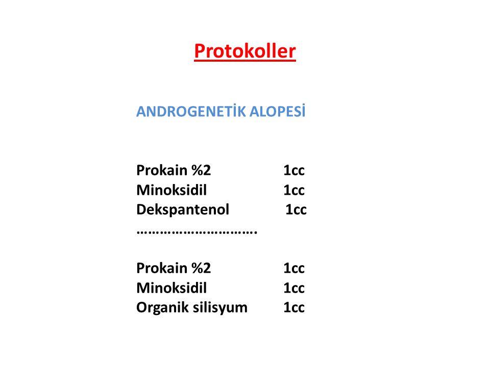 ANDROGENETİK ALOPESİ Prokain %21cc Minoksidil1cc Dekspantenol 1cc …………………………. Prokain %21cc Minoksidil1cc Organik silisyum1cc Protokoller