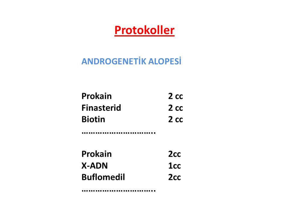 ANDROGENETİK ALOPESİ Prokain2 cc Finasterid2 cc Biotin 2 cc ………………………….. Prokain2cc X-ADN1cc Buflomedil2cc ………………………….. Protokoller