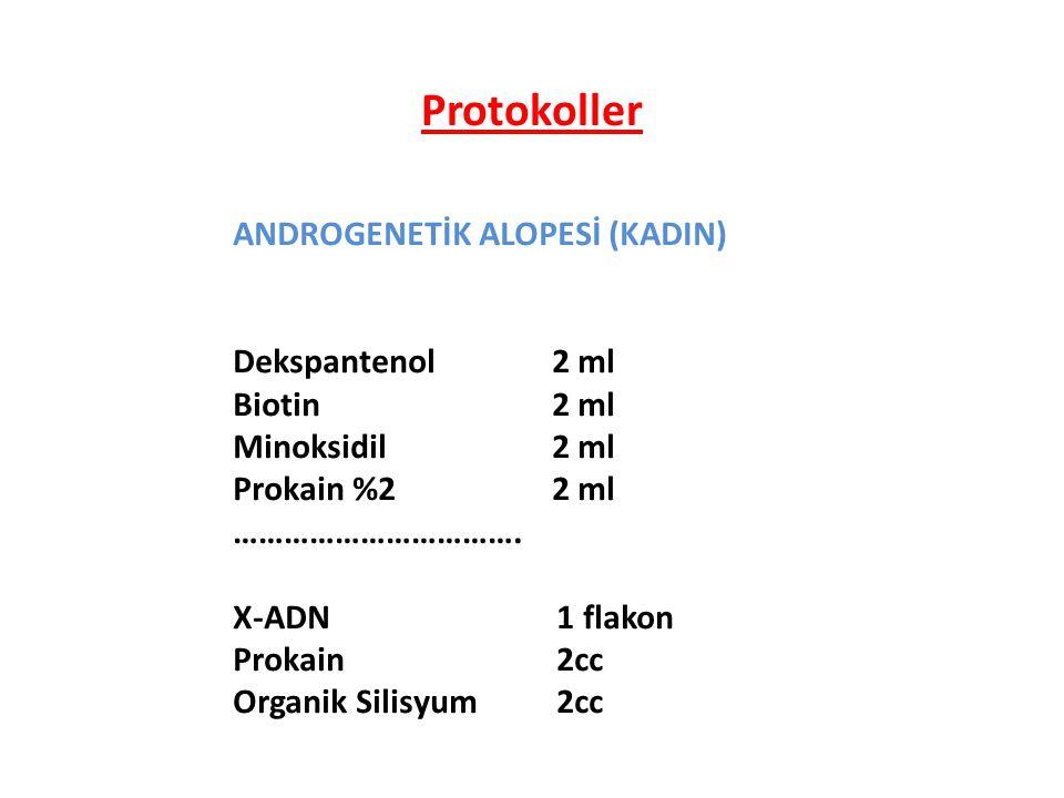 ANDROGENETİK ALOPESİ (KADIN) Dekspantenol2 ml Biotin 2 ml Minoksidil2 ml Prokain %22 ml ……………………………. X-ADN 1 flakon Prokain 2cc Organik Silisyum 2cc P