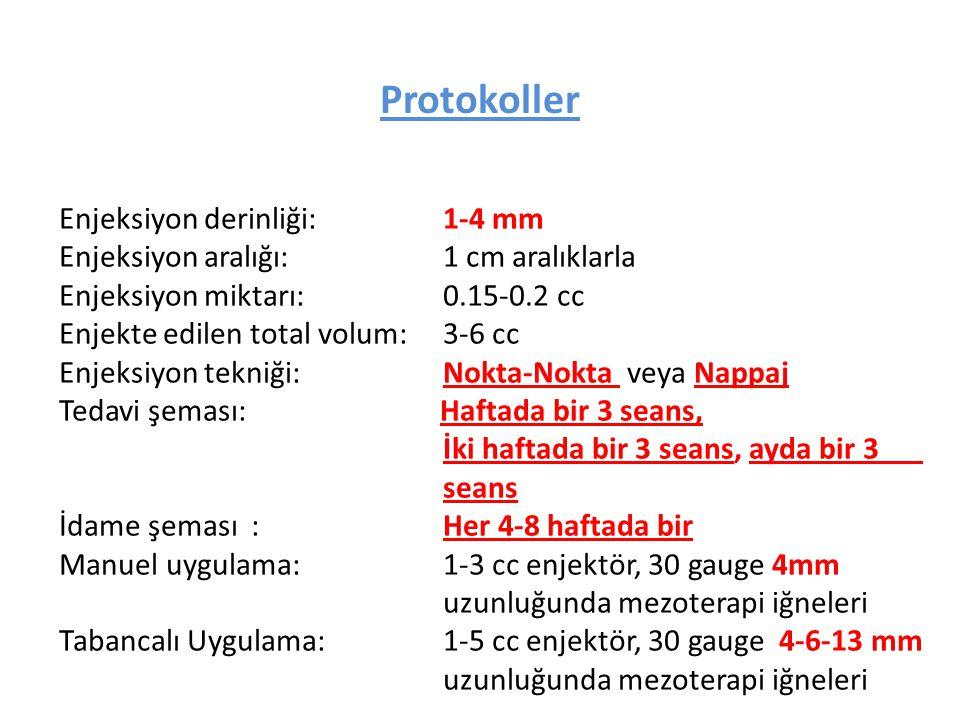 Enjeksiyon derinliği:1-4 mm Enjeksiyon aralığı:1 cm aralıklarla Enjeksiyon miktarı:0.15-0.2 cc Enjekte edilen total volum:3-6 cc Enjeksiyon tekniği:No