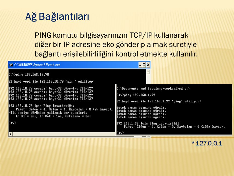 Ağ Bağlantıları PING komutu bilgisayarınızın TCP/IP kullanarak diğer bir IP adresine eko gönderip almak suretiyle bağlantı erişilebilirliliğini kontro