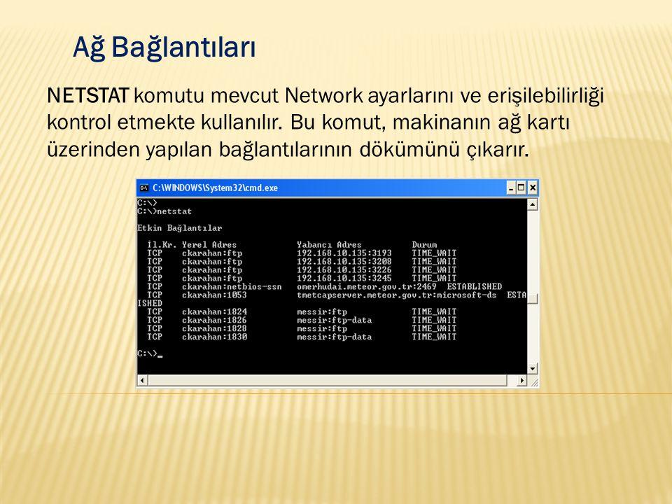 Ağ Bağlantıları NETSTAT komutu mevcut Network ayarlarını ve erişilebilirliği kontrol etmekte kullanılır. Bu komut, makinanın ağ kartı üzerinden yapıla