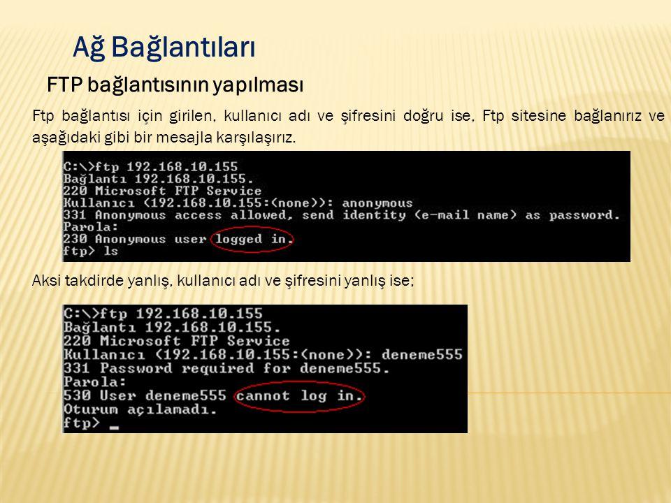 Ağ Bağlantıları FTP bağlantısının yapılması Ftp bağlantısı için girilen, kullanıcı adı ve şifresini doğru ise, Ftp sitesine bağlanırız ve aşağıdaki gi