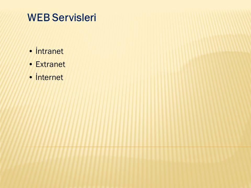 WEB Servisleri İntranet: Herhangi bir kurum ya da topluluğa ait bilgisayarları kapsayan ağlardır ve dışarıdan bu ağa erişimi sınırlandırır.