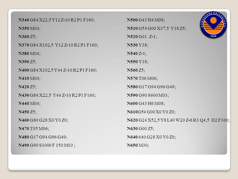 N340 G84 X22,5 Y12 Z-10 R2 P1 F160; N350 M04; N360 Z5; N370 G84 X102,5 Y12 Z-10 R2 P1 F160; N380 M04; N390 Z5; N400 G84 X102,5 Y44 Z-10 R2 P1 F160; N4