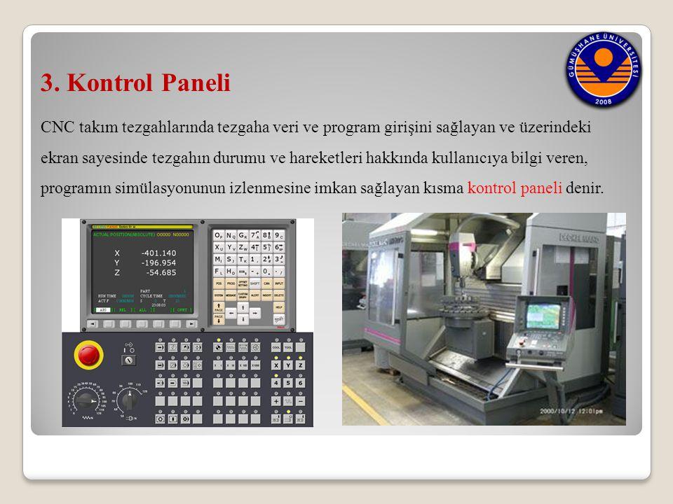 3. Kontrol Paneli CNC takım tezgahlarında tezgaha veri ve program girişini sağlayan ve üzerindeki ekran sayesinde tezgahın durumu ve hareketleri hakkı