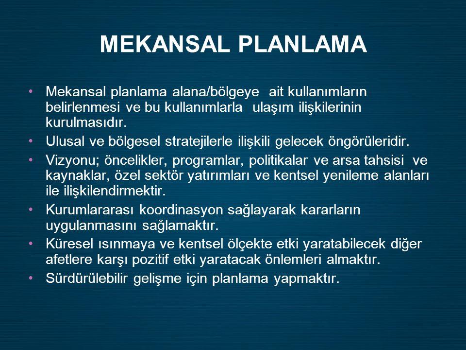 •Mekansal planlama alana/bölgeye ait kullanımların belirlenmesi ve bu kullanımlarla ulaşım ilişkilerinin kurulmasıdır. •Ulusal ve bölgesel stratejiler